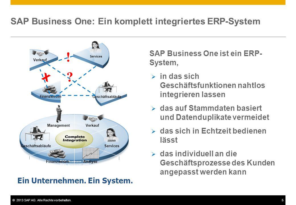 ©2013 SAP AG. Alle Rechte vorbehalten.5 Services Management Geschäftsabläufe Verkauf Finanzwesen Analyse 2380989 SAP Business One: Ein komplett integr