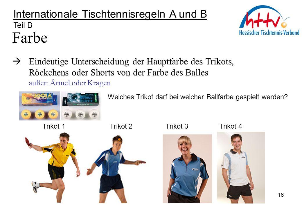 Internationale Tischtennisregeln A und B Teil B Farbe  Eindeutige Unterscheidung der Hauptfarbe des Trikots, Röckchens oder Shorts von der Farbe des