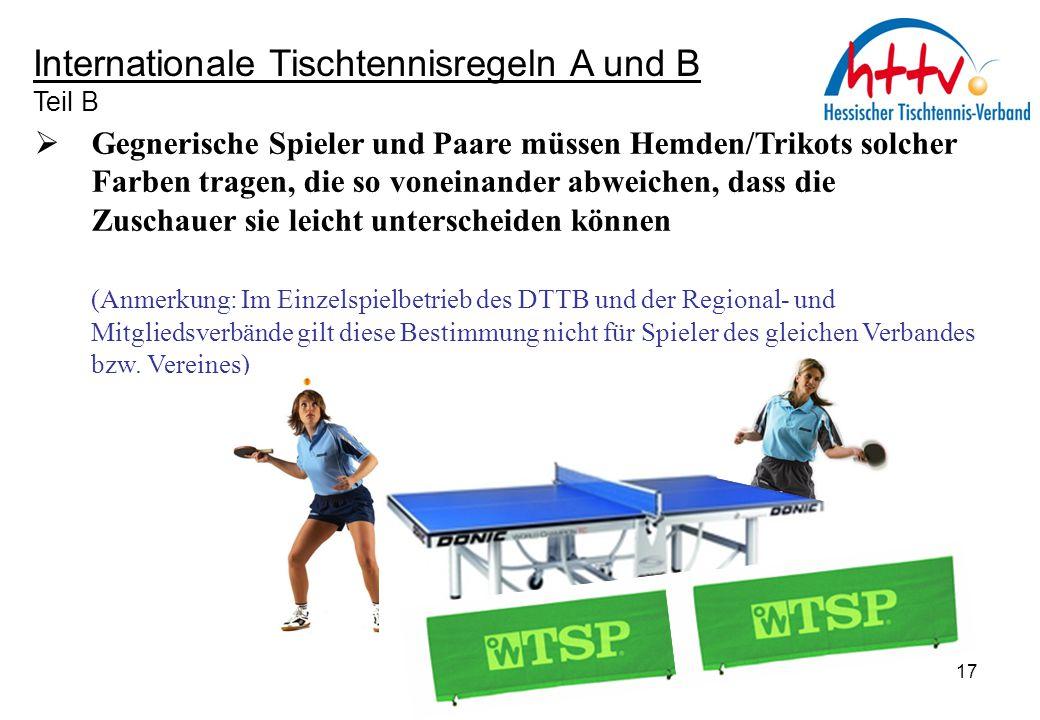 Internationale Tischtennisregeln A und B Teil B  Gegnerische Spieler und Paare müssen Hemden/Trikots solcher Farben tragen, die so voneinander abweic