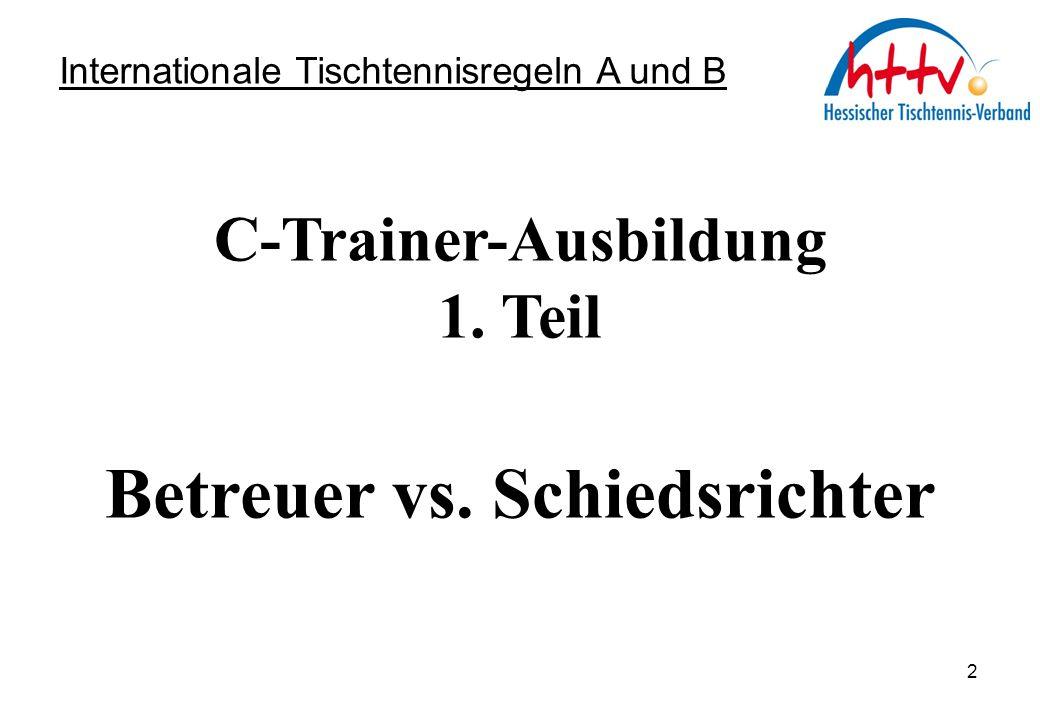 C-Trainer-Ausbildung 2. Teil Spieler vs. Schiedsrichter Internationale Tischtennisregeln A und B 13