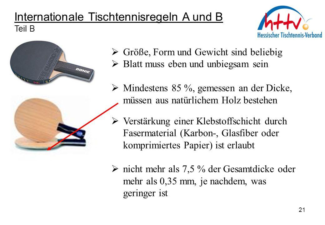 Internationale Tischtennisregeln A und B Teil B  Größe, Form und Gewicht sind beliebig  Blatt muss eben und unbiegsam sein  Mindestens 85 %, gemess