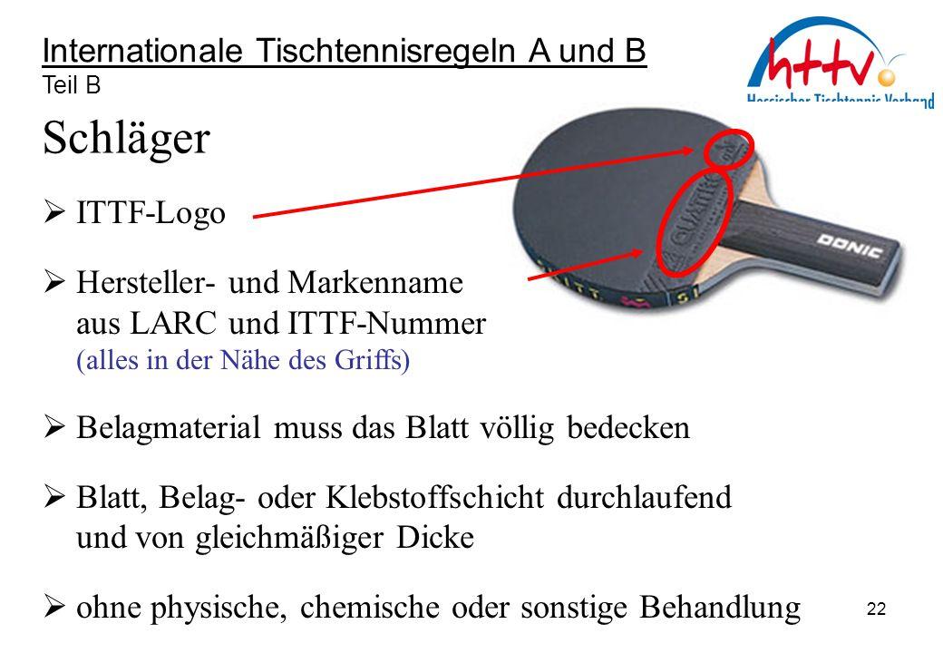 Internationale Tischtennisregeln A und B Teil B Schläger  ITTF-Logo  Hersteller- und Markenname aus LARC und ITTF-Nummer (alles in der Nähe des Grif
