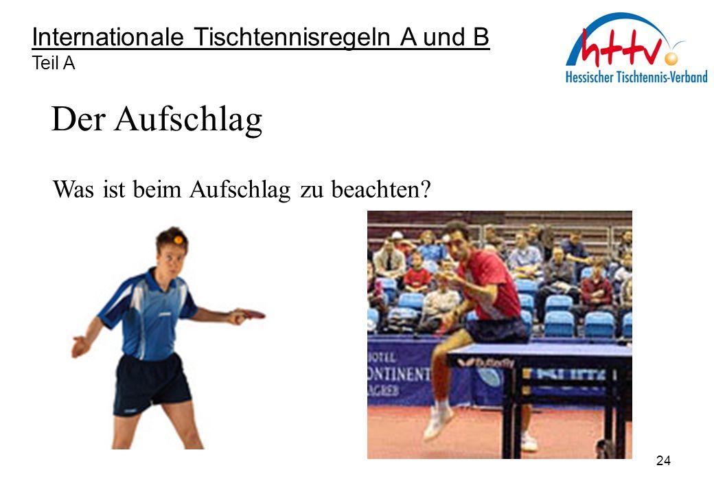 Internationale Tischtennisregeln A und B Teil A Der Aufschlag Was ist beim Aufschlag zu beachten? 24