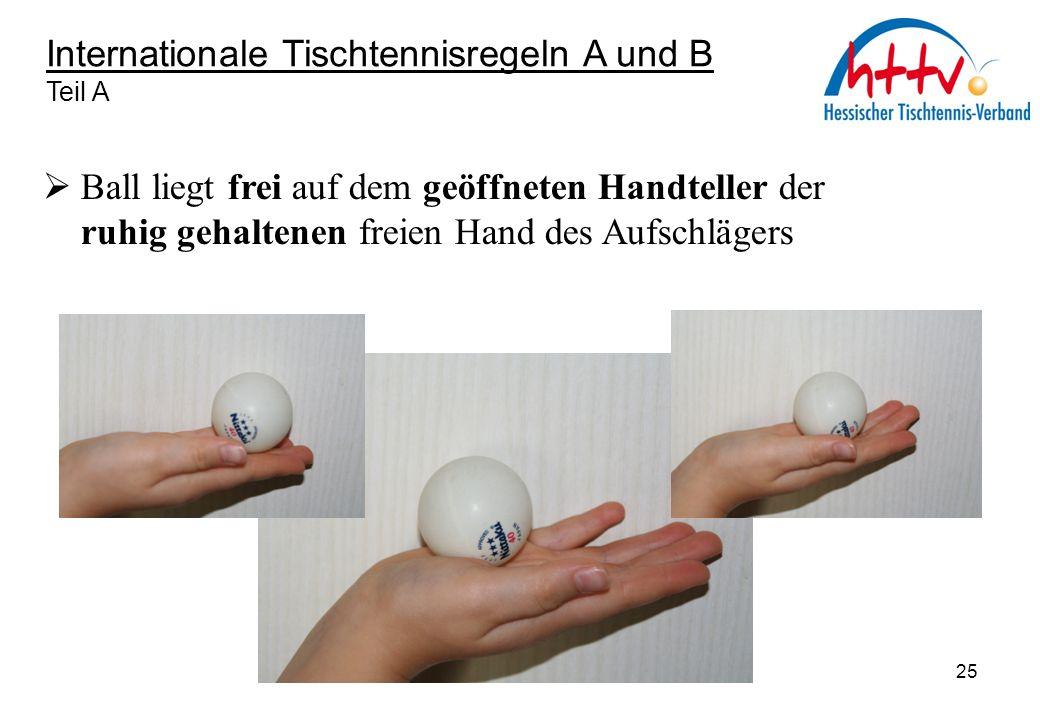 Internationale Tischtennisregeln A und B Teil A  Ball liegt frei auf dem geöffneten Handteller der ruhig gehaltenen freien Hand des Aufschlägers 25