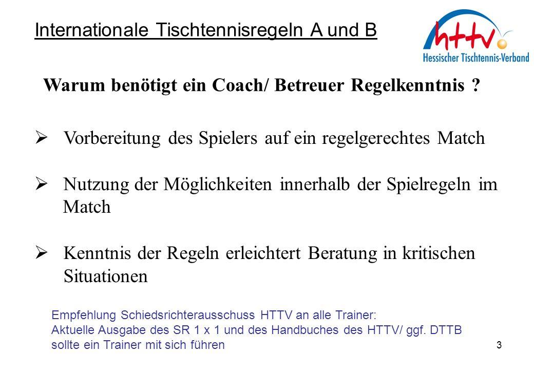 Fehlverhalten von Spielern Aktion des Schiedsrichters Internationale Tischtennisregeln A und B Teil B 34