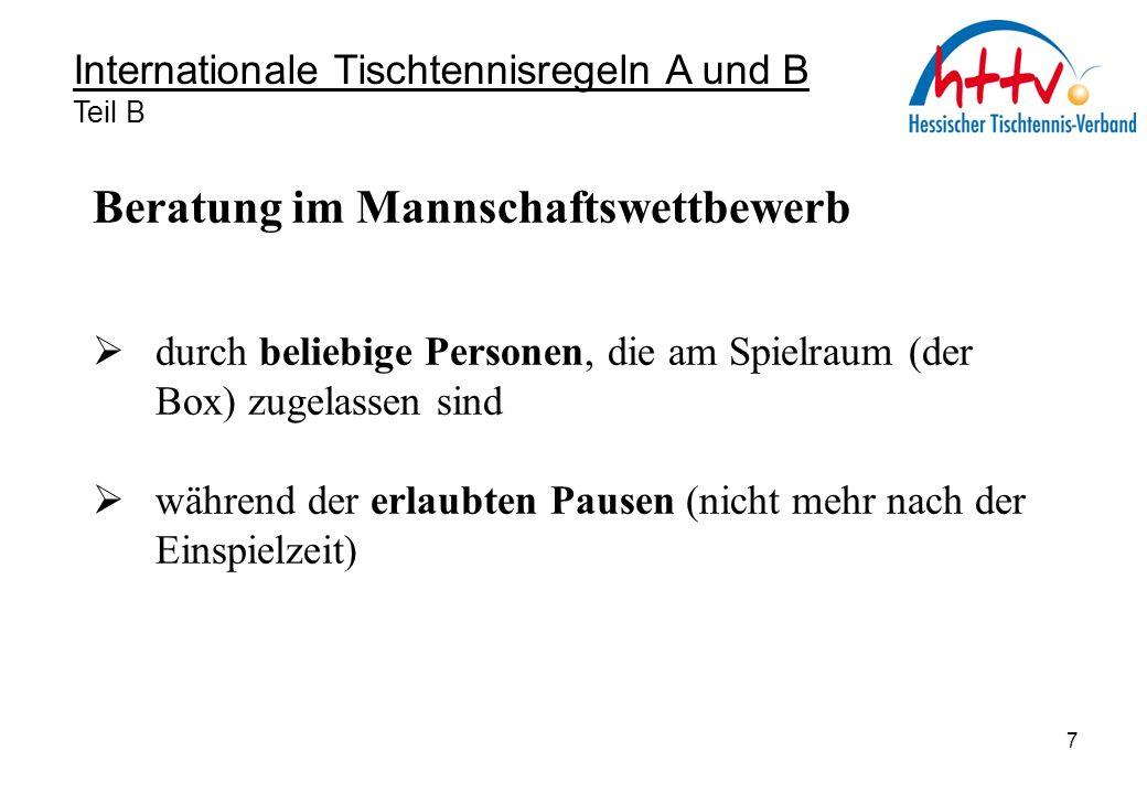 Internationale Tischtennisregeln A und B Teil B Beratung zu einer nicht erlaubten Zeit : 1.