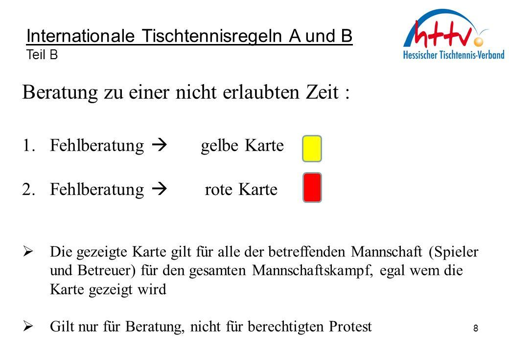Internationale Tischtennisregeln A und B Teil B Beratung zu einer nicht erlaubten Zeit : 1. Fehlberatung  gelbe Karte 2. Fehlberatung  rote Karte 