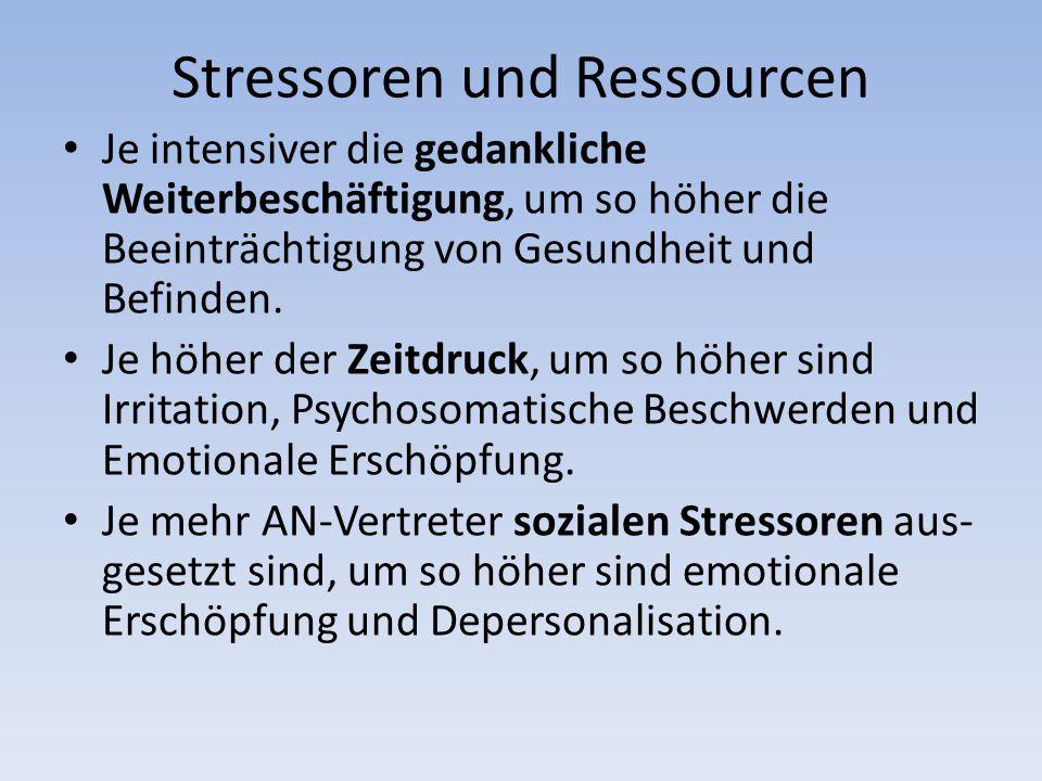 Stressoren und Ressourcen Je intensiver die gedankliche Weiterbeschäftigung, um so höher die Beeinträchtigung von Gesundheit und Befinden.
