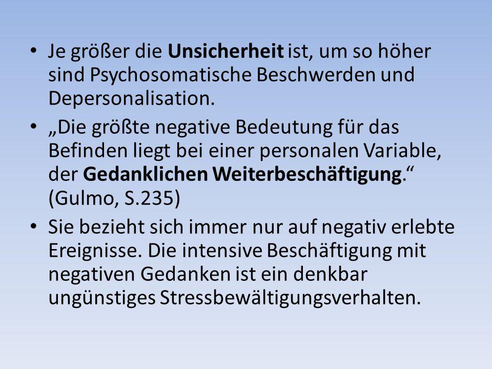 Je größer die Unsicherheit ist, um so höher sind Psychosomatische Beschwerden und Depersonalisation.