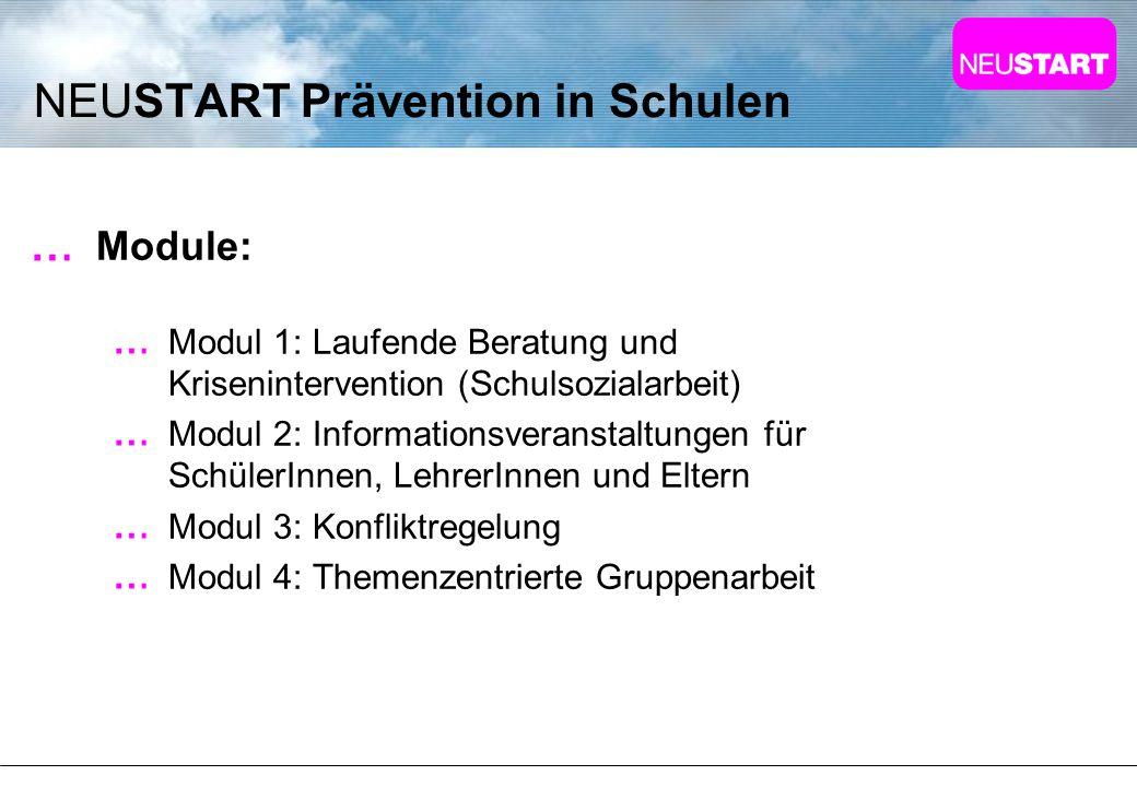 NEUSTART Prävention in Schulen Module: Modul 1: Laufende Beratung und Krisenintervention (Schulsozialarbeit) Modul 2: Informationsveranstaltungen für