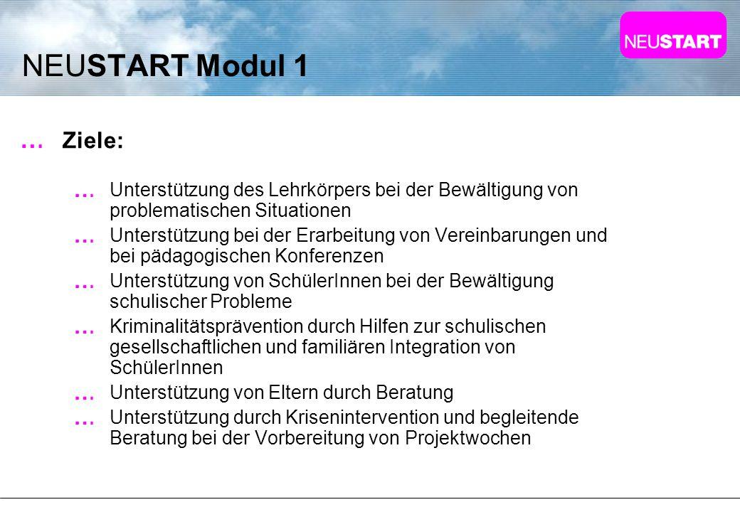 NEUSTART Modul 1 Ziele: Unterstützung des Lehrkörpers bei der Bewältigung von problematischen Situationen Unterstützung bei der Erarbeitung von Verein
