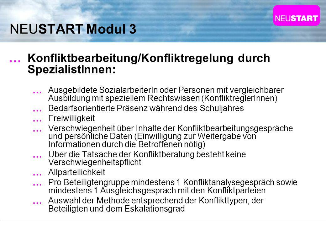 NEUSTART Modul 3 Konfliktbearbeitung/Konfliktregelung durch SpezialistInnen: Ausgebildete SozialarbeiterIn oder Personen mit vergleichbarer Ausbildung