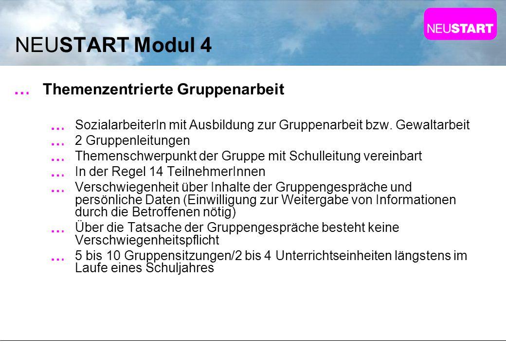 NEUSTART Modul 4 Themenzentrierte Gruppenarbeit SozialarbeiterIn mit Ausbildung zur Gruppenarbeit bzw. Gewaltarbeit 2 Gruppenleitungen Themenschwerpun
