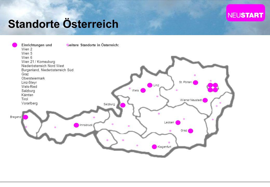 Standorte Österreich Einrichtungen und weitere Standorte in Österreich: Wien 2 Wien 5 Wien 6 Wien 21 / Korneuburg Niederösterreich Nord West Burgenlan