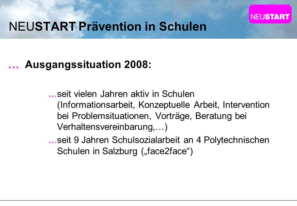 NEUSTART Prävention in Schulen Ausgangssituation 2008: seit vielen Jahren aktiv in Schulen (Informationsarbeit, Konzeptuelle Arbeit, Intervention bei