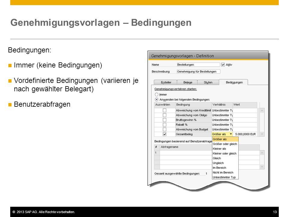 ©2013 SAP AG. Alle Rechte vorbehalten.13 Bedingungen: Immer (keine Bedingungen) Vordefinierte Bedingungen (variieren je nach gewählter Belegart) Benut