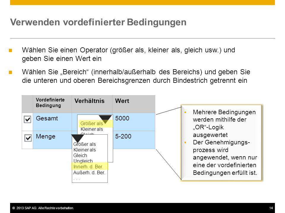 ©2013 SAP AG. Alle Rechte vorbehalten.14 Vordefinierte Bedingung VerhältnisWert Gesamt5000 Menge5-200 Wählen Sie einen Operator (größer als, kleiner a