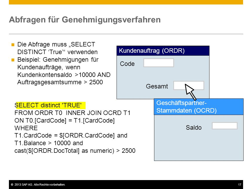 """©2013 SAP AG. Alle Rechte vorbehalten.17 Abfragen für Genehmigungsverfahren Die Abfrage muss """"SELECT DISTINCT 'True'"""" verwenden Beispiel: Genehmigunge"""