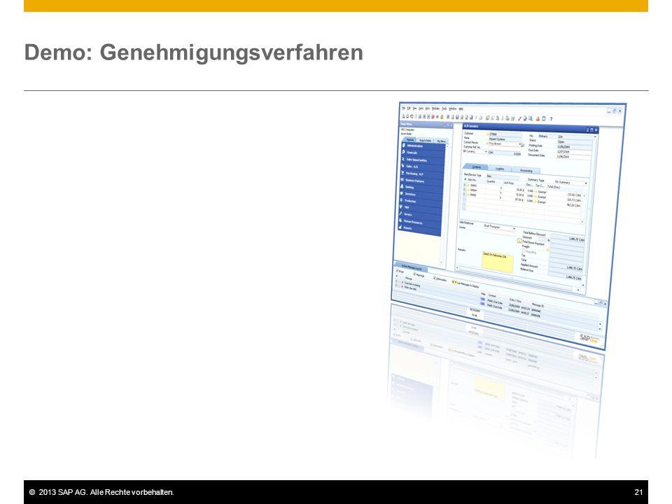 ©2013 SAP AG. Alle Rechte vorbehalten.21 Demo: Genehmigungsverfahren