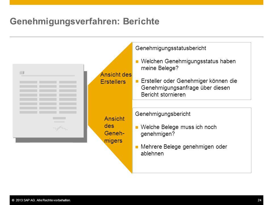 ©2013 SAP AG. Alle Rechte vorbehalten.24 Genehmigungsverfahren: Berichte Genehmigungsstatusbericht Welchen Genehmigungsstatus haben meine Belege? Erst
