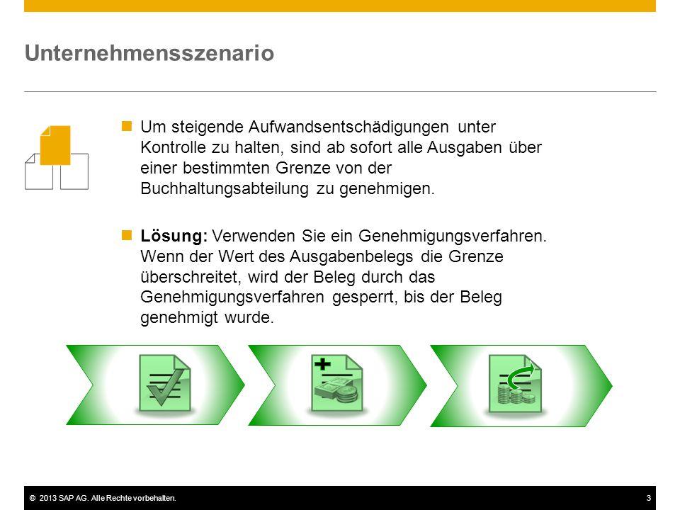 ©2013 SAP AG. Alle Rechte vorbehalten.3 Um steigende Aufwandsentschädigungen unter Kontrolle zu halten, sind ab sofort alle Ausgaben über einer bestim