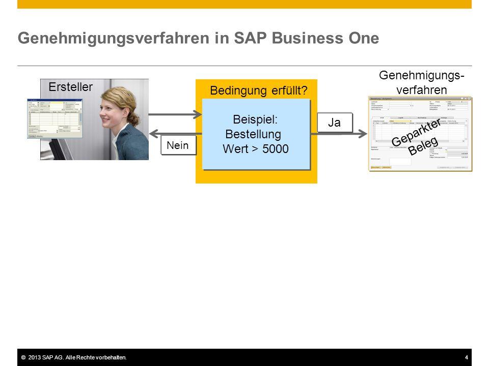 ©2013 SAP AG. Alle Rechte vorbehalten.4 Nein Genehmigungsverfahren in SAP Business One Ersteller Beispiel: Bestellung Wert > 5000 Beispiel: Bestellung