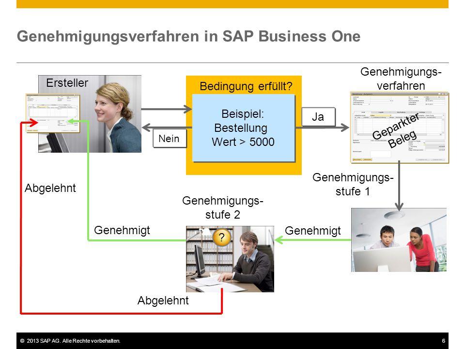 ©2013 SAP AG. Alle Rechte vorbehalten.6 Nein Genehmigungsverfahren in SAP Business One Ersteller Beispiel: Bestellung Wert > 5000 Beispiel: Bestellung