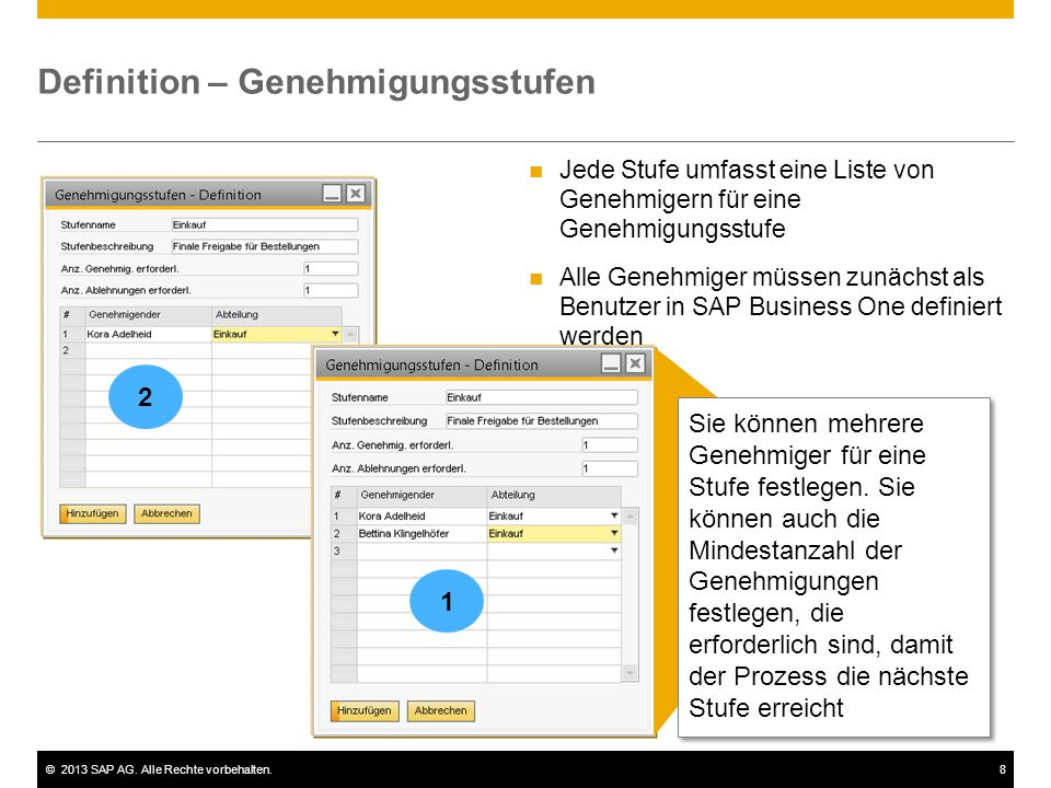 ©2013 SAP AG. Alle Rechte vorbehalten.8 Definition – Genehmigungsstufen Jede Stufe umfasst eine Liste von Genehmigern für eine Genehmigungsstufe Alle