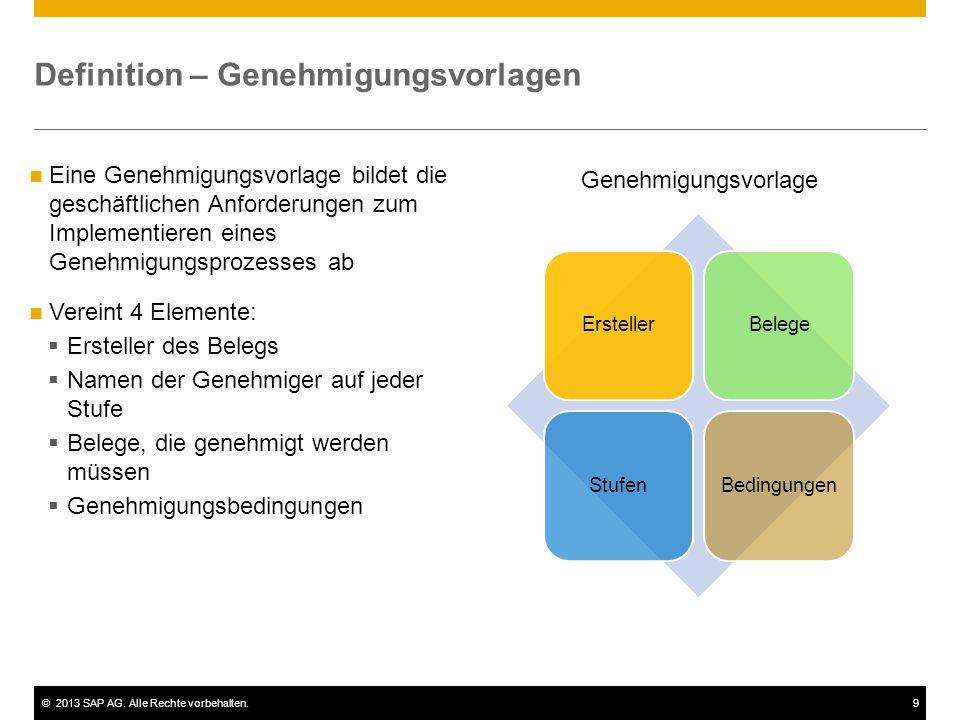 ©2013 SAP AG. Alle Rechte vorbehalten.9 Eine Genehmigungsvorlage bildet die geschäftlichen Anforderungen zum Implementieren eines Genehmigungsprozesse