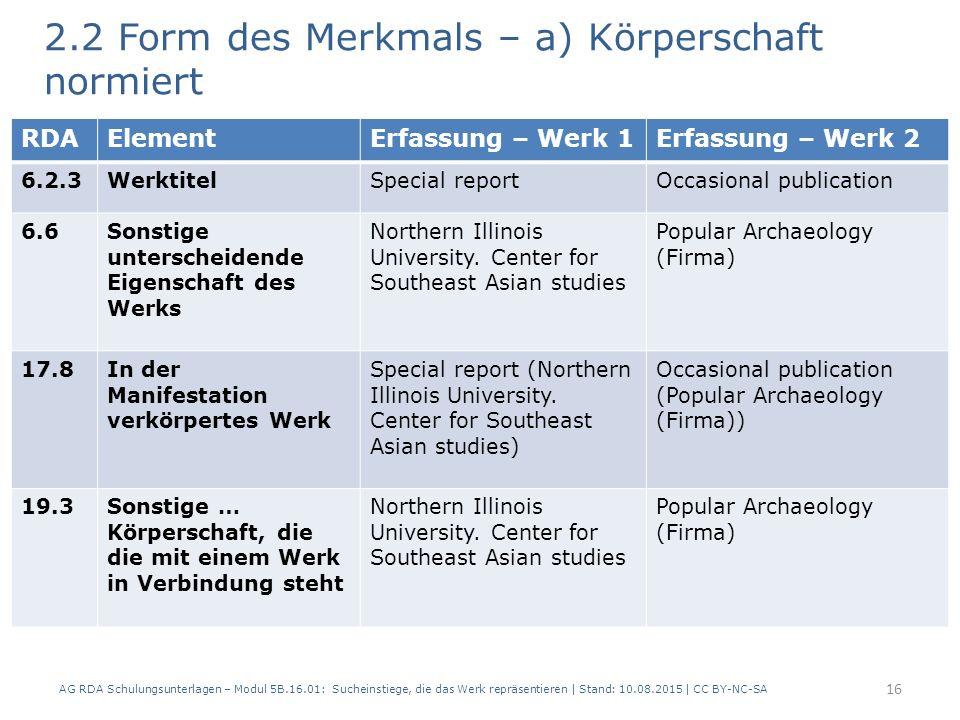 2.2 Form des Merkmals – a) Körperschaft normiert 2 Beispiele: AG RDA Schulungsunterlagen – Modul 5B.16.01: Sucheinstiege, die das Werk repräsentieren