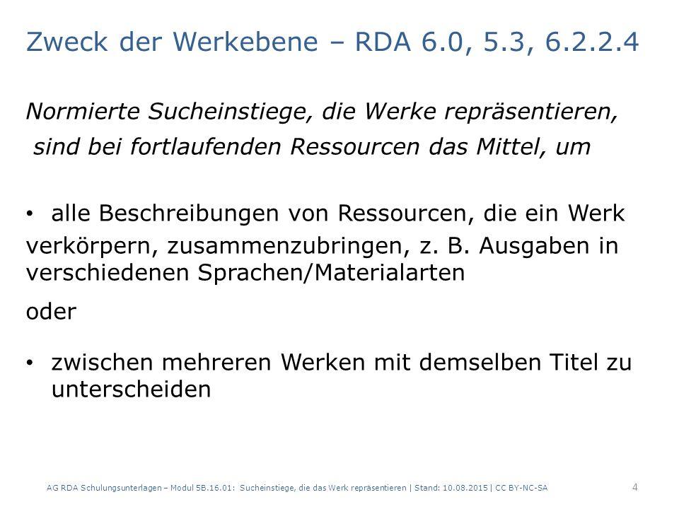 2.1 Merkmal – c) Erscheinungsort AG RDA Schulungsunterlagen – Modul 5B.16.01: Sucheinstiege, die das Werk repräsentieren | Stand: 10.08.2015 | CC BY-NC-SA RDAElementErfassung – Werk 1 Erfassung – Werk 2 6.2.2WerktitelAus der Landwirtschaft 6.5Ursprungsort des Werks HamburgLeipzig 17.8In der Manifestation verkörpertes Werk Aus der Land- wirtschaft (Hamburg) Aus der Land- wirtschaft (Leipzig) 2.3.2 Haupttitel Aus der Landwirtschaft 2.8.2ErscheinungsortHamburgLeipzig - Halle (Saale) 15