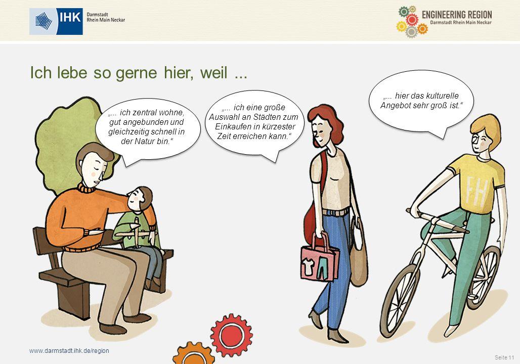 """www.darmstadt.ihk.de/region Ich lebe so gerne hier, weil... """"... ich eine große Auswahl an Städten zum Einkaufen in kürzester Zeit erreichen kann."""" """"."""