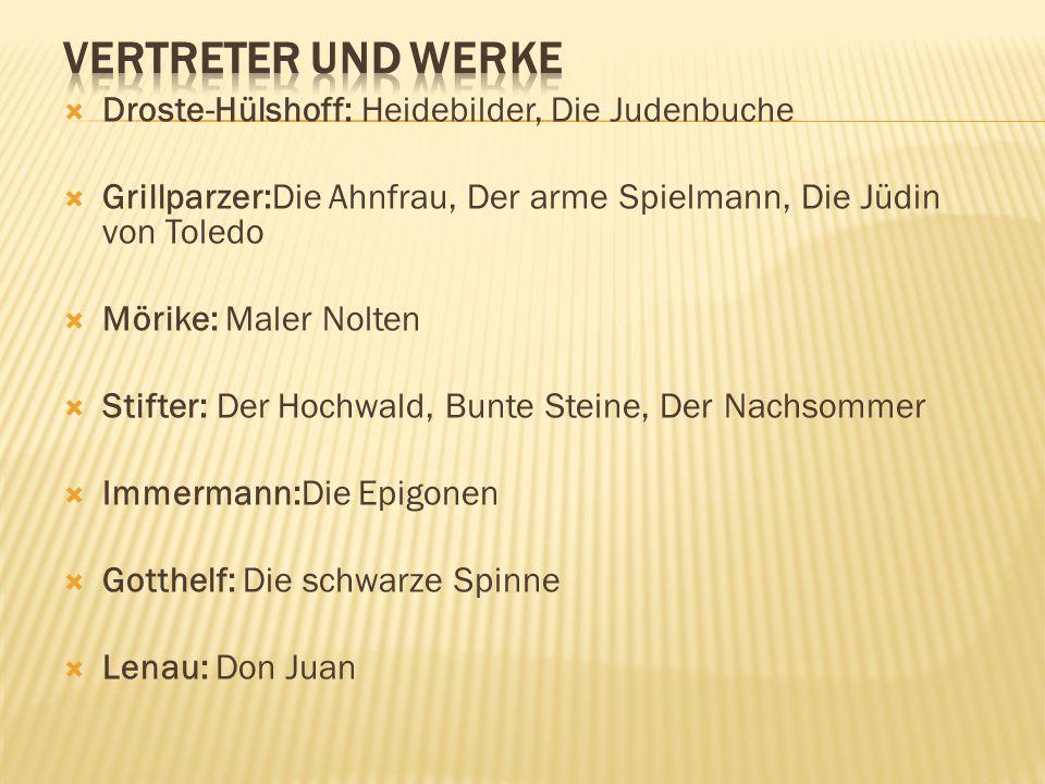  Droste-Hülshoff: Heidebilder, Die Judenbuche  Grillparzer:Die Ahnfrau, Der arme Spielmann, Die Jüdin von Toledo  Mörike: Maler Nolten  Stifter: D
