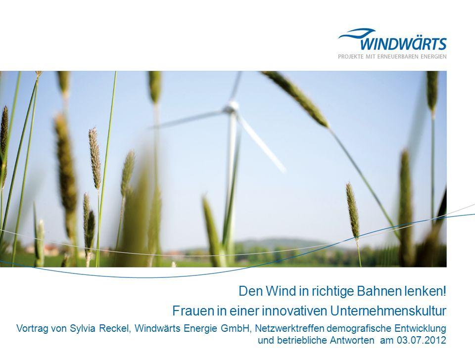 Windwärts Energie GmbH >Gegründet 1994, Firmensitz in Hannover >Im Eigentum von 21 Gesell- schafterinnen und Gesellschaftern >Entwicklung, Finanzierung und Betrieb von Windenergie- und Photovoltaikprojekten in Deutsch- land, Frankreich und Italien >Emission nachhaltiger Kapitalanlagen (Fonds und Genussrechte) >ca.