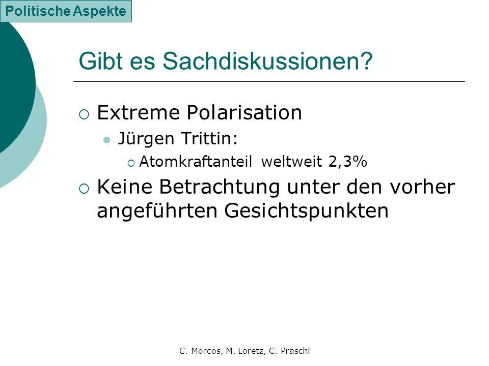 C. Morcos, M. Loretz, C. Praschl Gibt es Sachdiskussionen?  Extreme Polarisation Jürgen Trittin:  Atomkraftanteil weltweit 2,3%  Keine Betrachtung