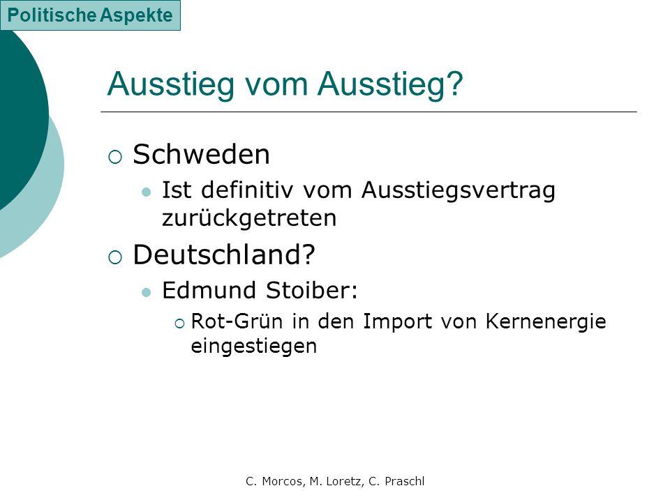 C. Morcos, M. Loretz, C. Praschl Ausstieg vom Ausstieg?  Schweden Ist definitiv vom Ausstiegsvertrag zurückgetreten  Deutschland? Edmund Stoiber: 