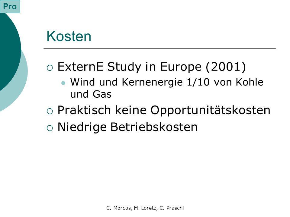 C. Morcos, M. Loretz, C. Praschl Kosten  ExternE Study in Europe (2001) Wind und Kernenergie 1/10 von Kohle und Gas  Praktisch keine Opportunitätsko