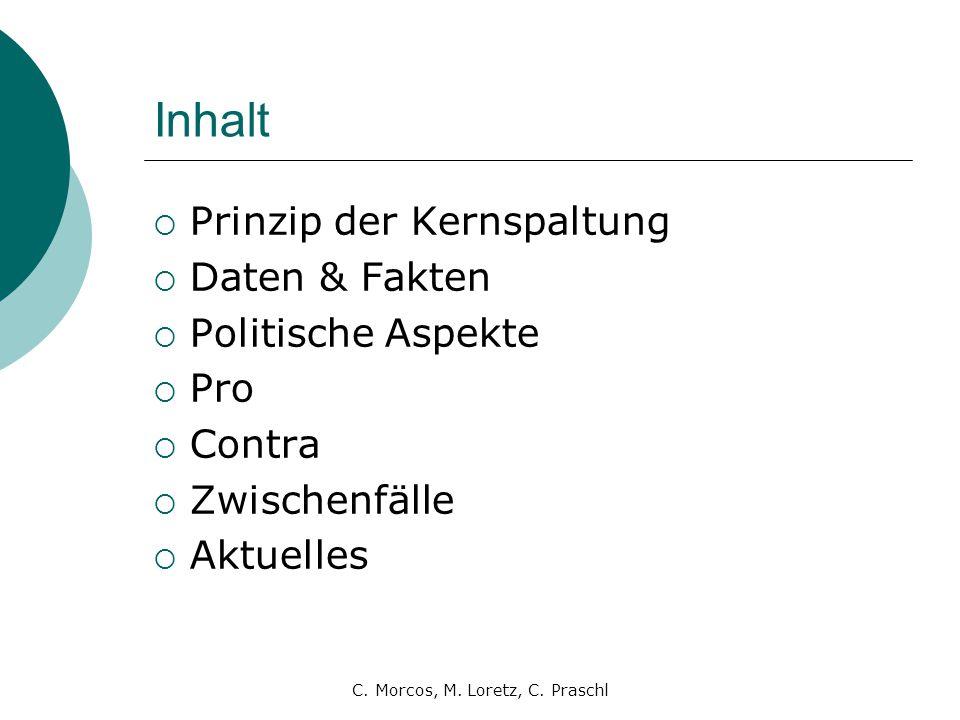 C. Morcos, M. Loretz, C. Praschl Inhalt  Prinzip der Kernspaltung  Daten & Fakten  Politische Aspekte  Pro  Contra  Zwischenfälle  Aktuelles