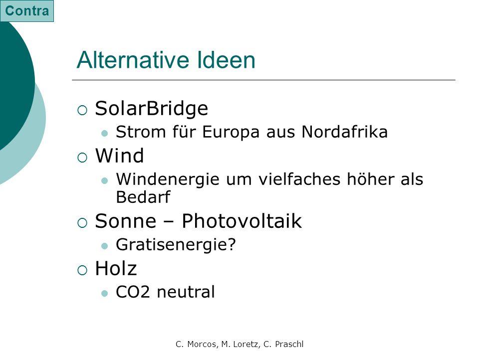 C. Morcos, M. Loretz, C. Praschl Alternative Ideen  SolarBridge Strom für Europa aus Nordafrika  Wind Windenergie um vielfaches höher als Bedarf  S
