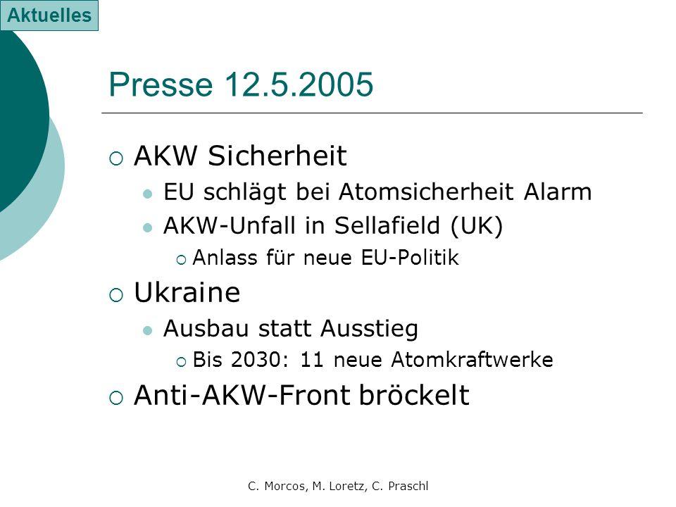 C. Morcos, M. Loretz, C. Praschl Presse 12.5.2005  AKW Sicherheit EU schlägt bei Atomsicherheit Alarm AKW-Unfall in Sellafield (UK)  Anlass für neue