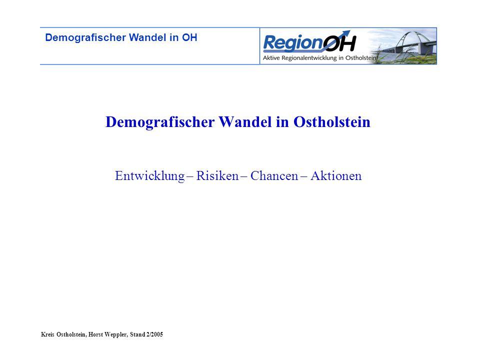 """Kreis Ostholstein, Horst Weppler, Stand 2/2005 Demografischer Wandel in OH Entwicklung in OH + SH Die """"jungen und die """"alten Gemeinden in Ostholstein (Stand 1999)"""
