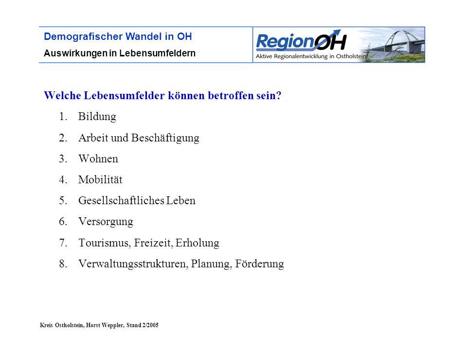 Kreis Ostholstein, Horst Weppler, Stand 2/2005 Demografischer Wandel in OH Auswirkungen in Lebensumfeldern Welche Lebensumfelder können betroffen sein