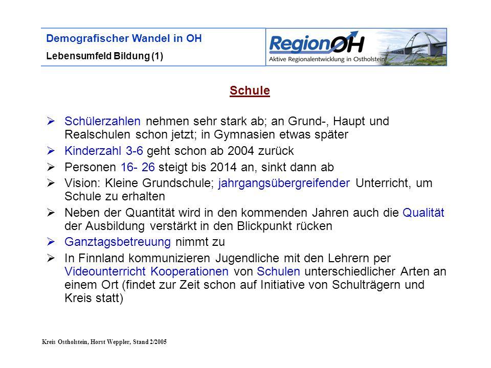 Kreis Ostholstein, Horst Weppler, Stand 2/2005 Demografischer Wandel in OH Lebensumfeld Bildung (1) Schule  Schülerzahlen nehmen sehr stark ab; an Gr