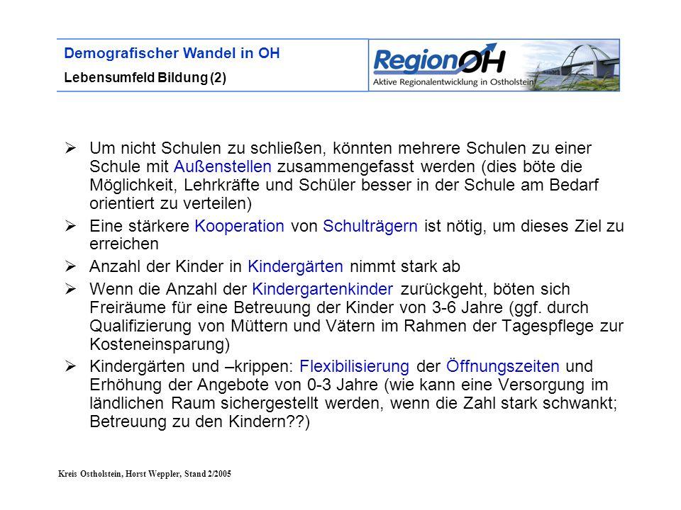Kreis Ostholstein, Horst Weppler, Stand 2/2005 Demografischer Wandel in OH Lebensumfeld Bildung (2)  Um nicht Schulen zu schließen, könnten mehrere S