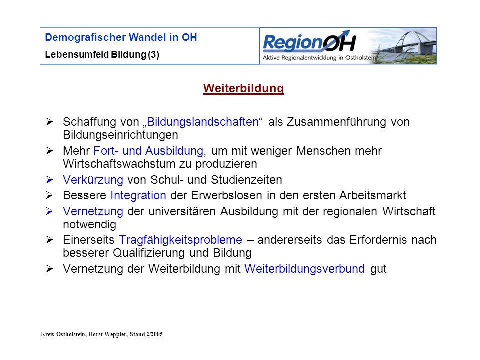 """Kreis Ostholstein, Horst Weppler, Stand 2/2005 Demografischer Wandel in OH Lebensumfeld Bildung (3) Weiterbildung  Schaffung von """"Bildungslandschafte"""
