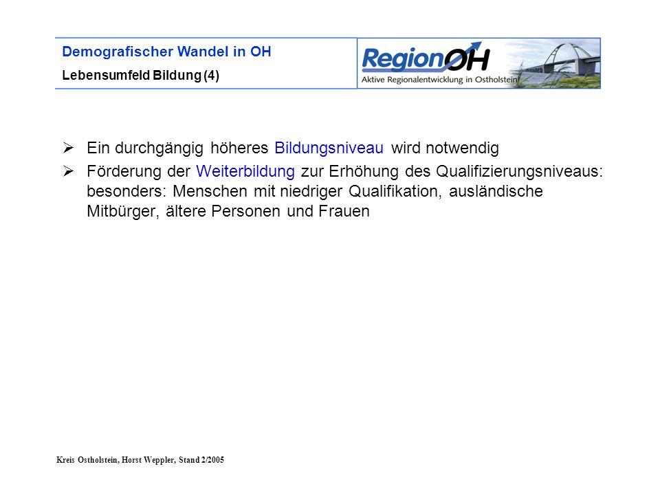 Kreis Ostholstein, Horst Weppler, Stand 2/2005 Demografischer Wandel in OH Lebensumfeld Bildung (4)  Ein durchgängig höheres Bildungsniveau wird notw