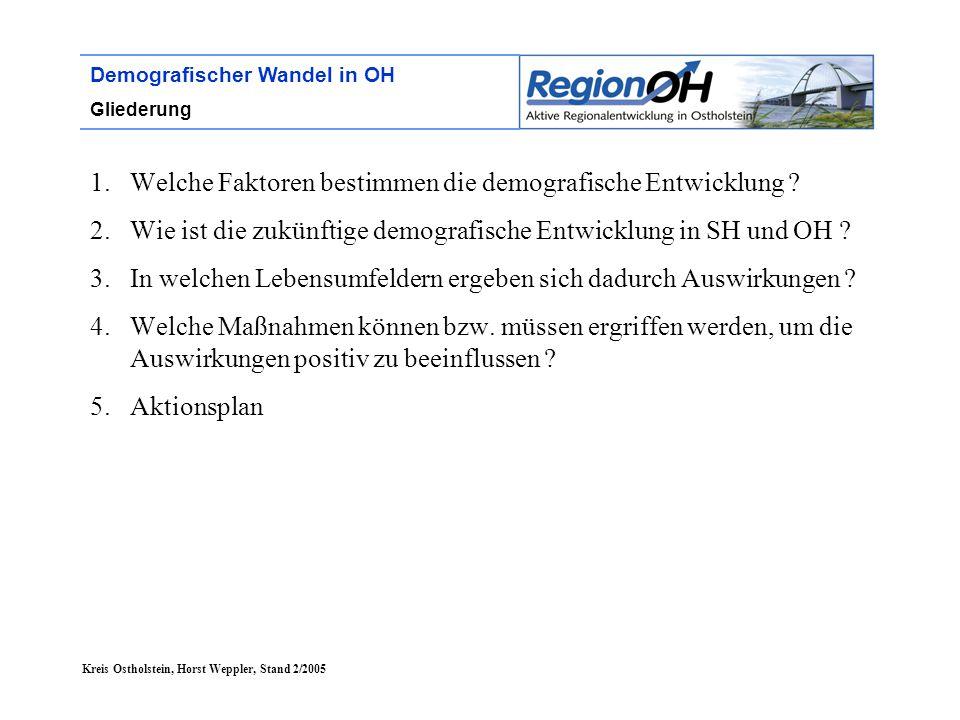 Kreis Ostholstein, Horst Weppler, Stand 2/2005 Demografischer Wandel in OH Gliederung 1.Welche Faktoren bestimmen die demografische Entwicklung ? 2.Wi