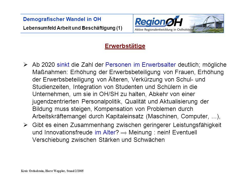 Kreis Ostholstein, Horst Weppler, Stand 2/2005 Demografischer Wandel in OH Lebensumfeld Arbeit und Beschäftigung (1) Erwerbstätige  Ab 2020 sinkt die
