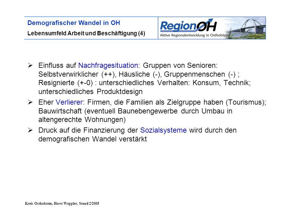 Kreis Ostholstein, Horst Weppler, Stand 2/2005 Demografischer Wandel in OH Lebensumfeld Arbeit und Beschäftigung (4)  Einfluss auf Nachfragesituation