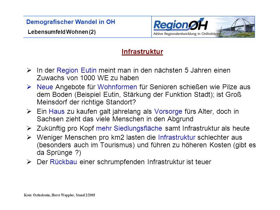 Kreis Ostholstein, Horst Weppler, Stand 2/2005 Demografischer Wandel in OH Lebensumfeld Wohnen (2) Infrastruktur  In der Region Eutin meint man in de